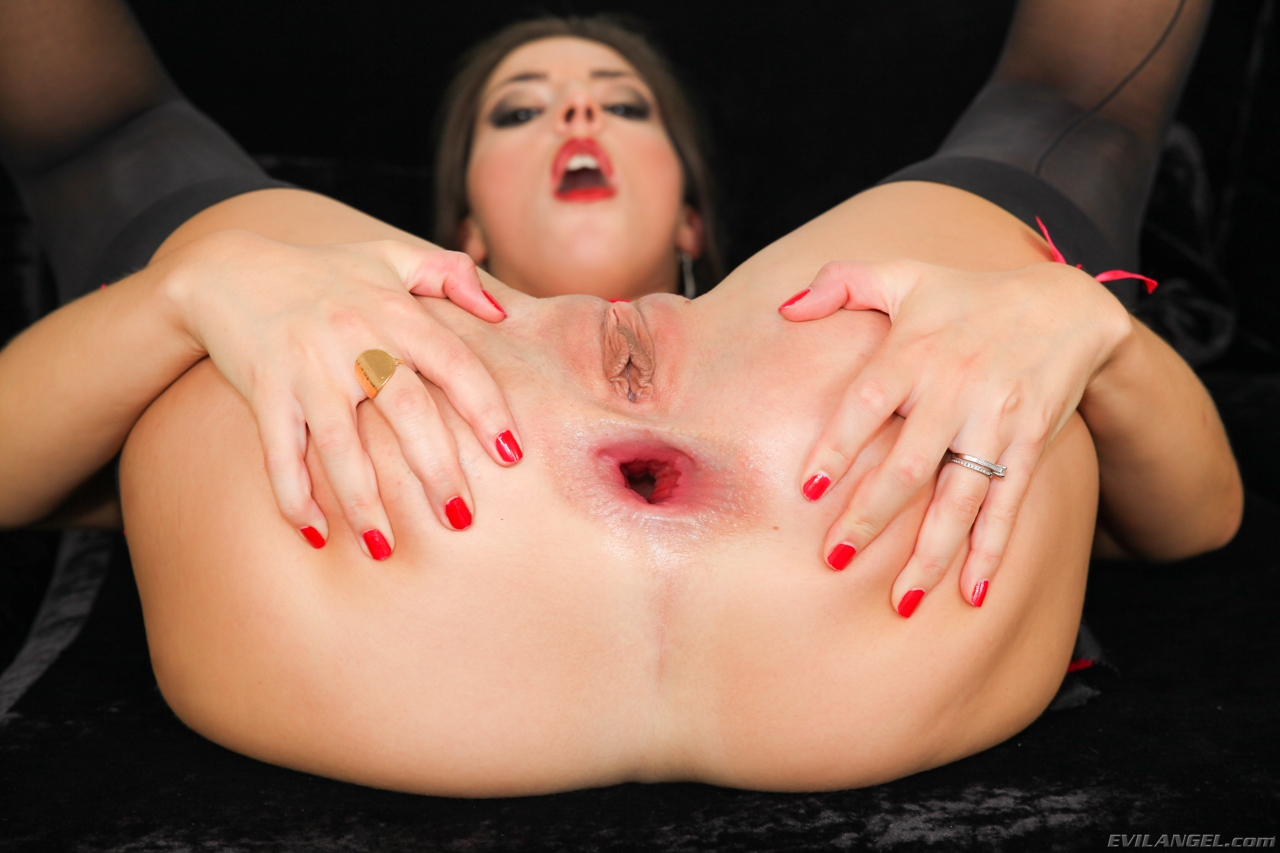 Making my ass gape open with a big black dildo 10